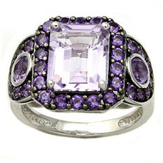 Rose De France and Purple Amethyst Ring in Sterling Silver