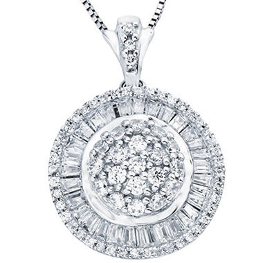 1.00 ct. t.w. Diamond Round and Baguette Pendant in 14K White Gold