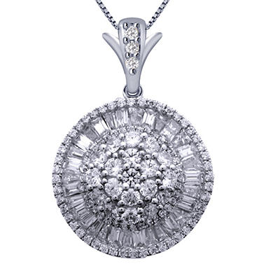 2.00 ct. t.w. Round and Baguette Ballerina Pendant in 14K White Gold