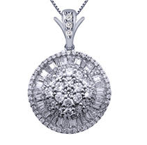 Click here for 2.00 ct. t.w. Round and Baguette Ballerina Pendant... prices