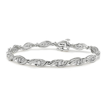 1.00 CT. T.W. Marquise-Shaped 3-Stone Design Diamond Tennis Bracelet in 14K White Gold (I, I1)
