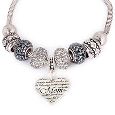 Fiora Sterling Silver Mother's Day Heart Bracelet