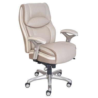 Serta Premium Leather Chair, Taupe