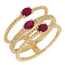 Ruby Ring with Diamond Accent in 14K Yellow Gold