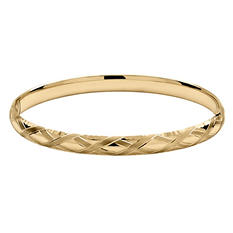 "4/16"" X Design Bangle in 14K Yellow Royale Gold"