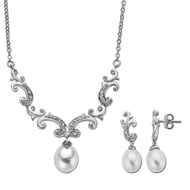 Freshwater Cultured Pearl Pendant and Earring Set with 0.11 CT. T.W. Diamonds in Sterling Silver