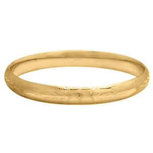 "5/16"" Flower Design Bangle in 14K Yellow Royale Gold"