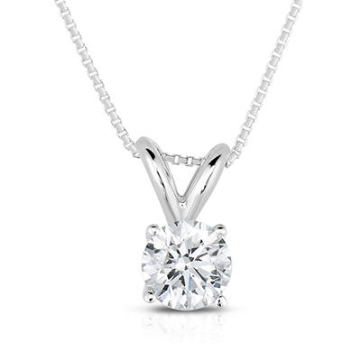 0.30 CT. TW. Round Cut Regal Diamond Pendant in 14K White Gold