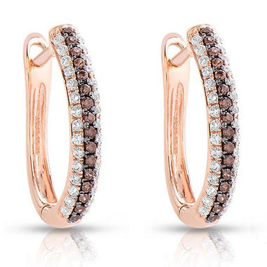 0.35 CT. TW. Fancy Brown Diamond Earrings in 14K Rose Gold