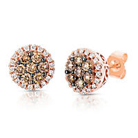 .70 CT. T.W. Fancy Brown Diamond Stud Earrings in 14K Rose Gold