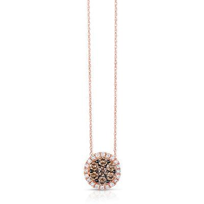 0.95 CT. TW. Fancy Brown Diamond Pendant in 14K Rose Gold