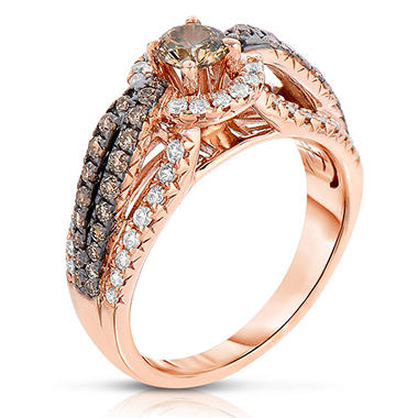 1.15 CT. TW. Fancy Brown Diamond Ring in 14K Rose Gold