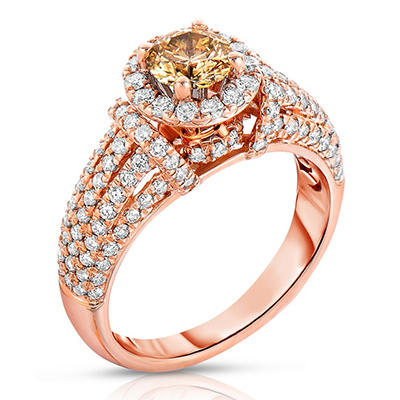 1.70 CT. TW. Fancy Brown Diamond Ring in 14K Rose Gold