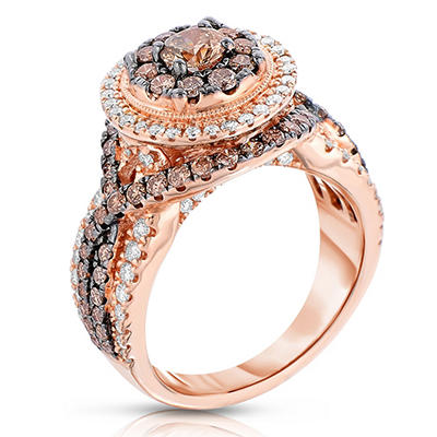 Amour Chocolat 1.95 CT. TW. Diamond Ring in 14K Rose Gold