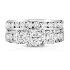1.95 ct. tw. 3 Stone+ Diamond Ring in 14K White Gold (HI-I1)