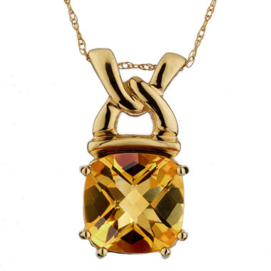 4.00 ct. t.w. Cushion-Cut Citrine Antique Link Pendant in 14k Yellow Gold.