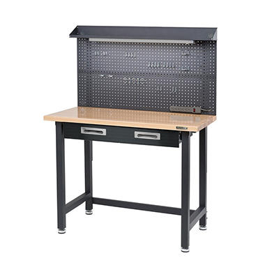 Seville Classics Lighted Hardwood Top Workbench - Dark Grey