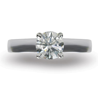 1.10 ct. Round Brilliant-Cut Diamond Solitaire Ring in 18k White Gold (I, VS2)