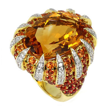 16.57 CT. Citrine and Diamond Ring with Yellow and Orange Sapphires in 18K Yellow Gold