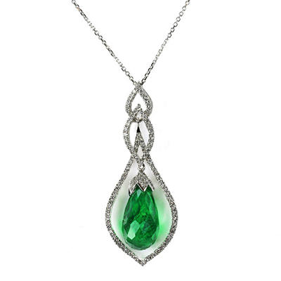 14.91 CT. Briolette Cut Tsavorite and Diamond Pendant Set in 18K White Gold