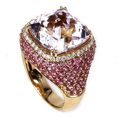 13.20 CT. Kunzite Ring with Pink Sapphires and Diamonds in 18K Rose Gold
