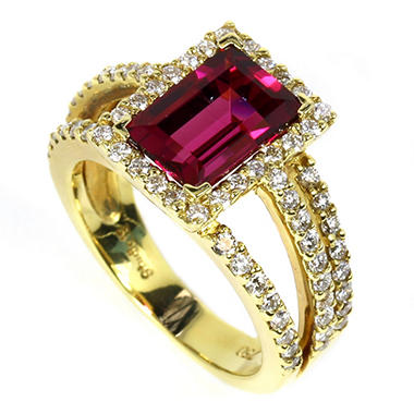 2.94 CT. Baguette Cut Rubelite and Diamond Ring in 18K Yellow Gold
