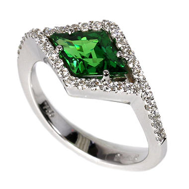 1.46 CT. Fancy Cut Tsavorite and Diamond Ring in 18K White Gold