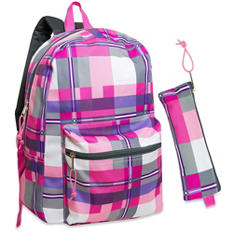 "Trailmaker 17"" Plaid Backpack (24 Packs)"