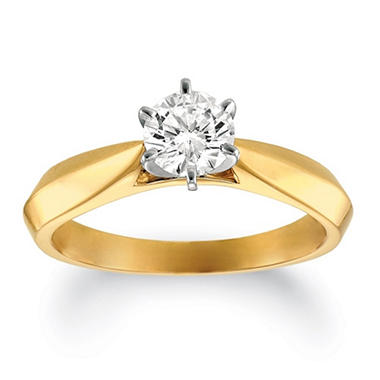 1.00 ct. Round-Cut Diamond Solitaire Ring 14k Yellow Gold and Platinum Head (I, SI2)