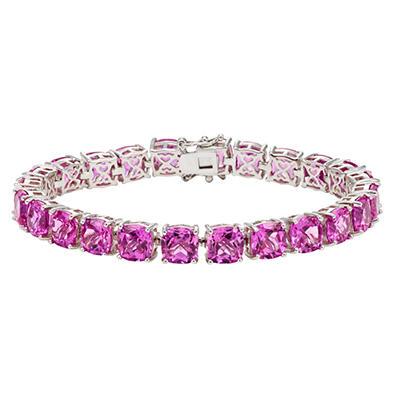 Pink Sapphire Tennis Bracelet in Sterling Silver