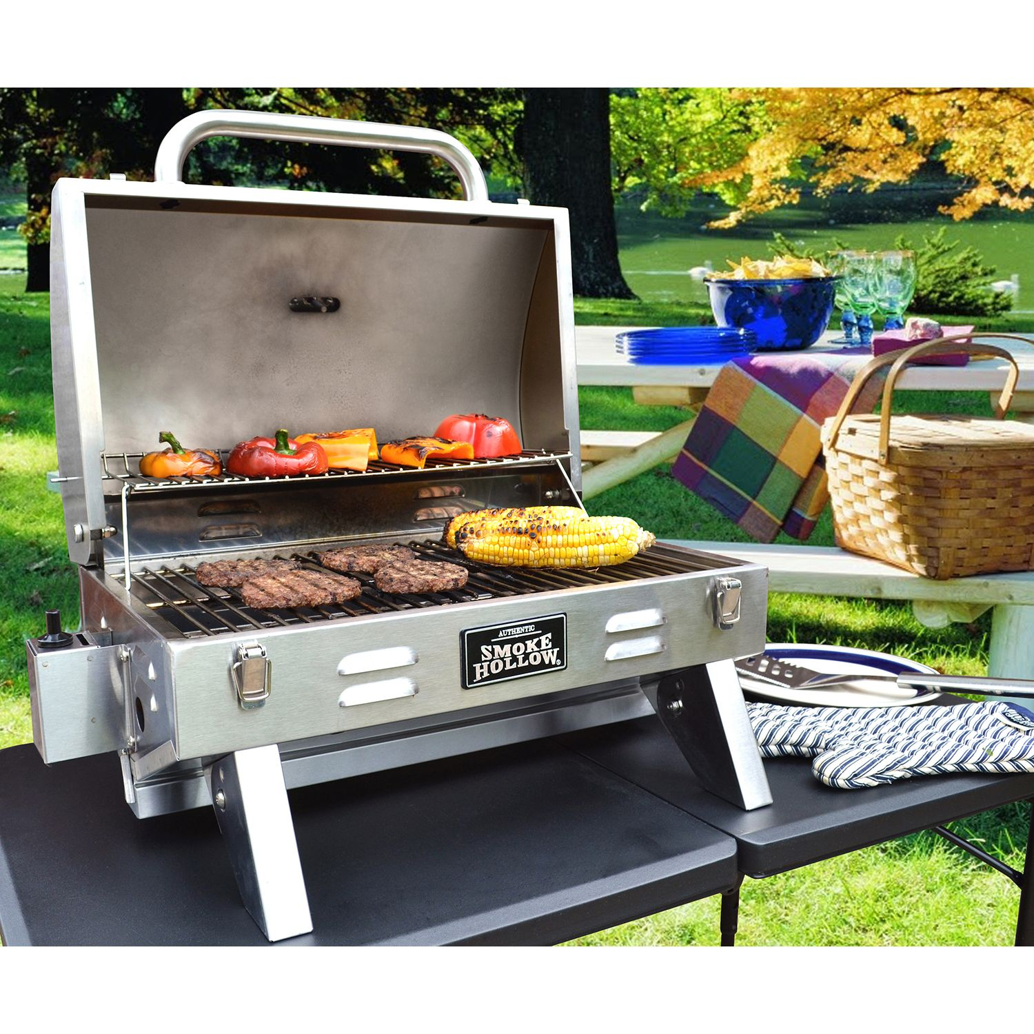 Tabletop Grill Gas BBQ Stainless Steel Small Barbecue