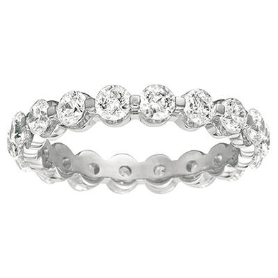 Round Prong-Set Diamond Eternity Band in 14k White Gold (I, VS2) - 3.5mm
