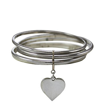 Love, Earth® 5-Stack Bangle Bracelets with Heart Charm