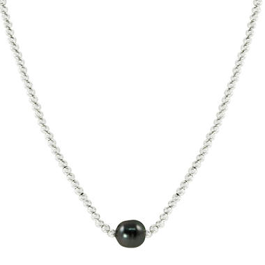 9-10mm Tahitian Pearl and Sterling Silver Bead Necklace
