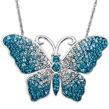 Blue Fade Butterfly Crystal Pendant in Sterling Silver