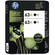 HP 63XL High Yield Original Ink Cartridge, Black (2 pk, 480 Page Yield)