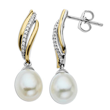 Freshwater Pearl Earrings with 0.11 ct. t.w. Diamonds in Sterling Silver and 14k Yellow Gold (H-I, I1)