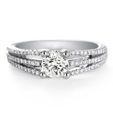 Premier Diamond Collection 1.05 CT. T.W. Round Diamond Engagement Ring in 18K White Gold - GIA & IGI (I, SI1)