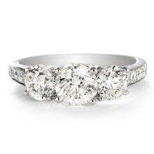 Premier Diamond Collection 1.91 CT. T.W. Three-Stone Brilliant Diamond Engagement Ring in 14K White Gold - IGI (G, I1)