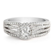 Premier Diamond Collection 1.62 CT. T.W. Cushion Diamond Halo Engagement Ring in 18K White Gold - GIA & IGI (F, VS1)