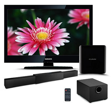 "32"" Magnavox LCD 720p HDTV w/ Expandable 2.1 Soundbar and Funai HD Streaming Player Bundle"