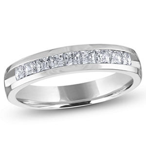 0.50 ct. t.w. Channel Set Princess Diamond Band in 14K White Gold (H-I, I1)