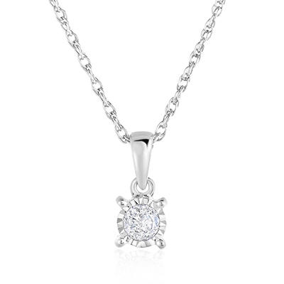 .15 CT. TW. Diamond Solitaire Pendant in Sterling Silver
