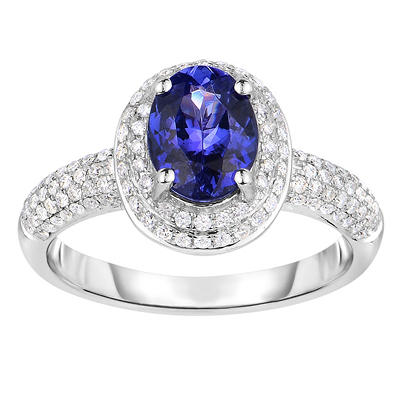 Oval Shaped Tanzanite Ring with Diamonds in 14K White Gold