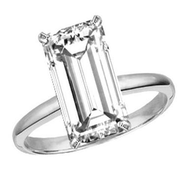 0.38 ct. Emerald-Cut Diamond Solitaire Ring (D, SI2)