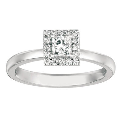 .50 CT. TW. Princess-Cut Diamond Halo Ring 14K White Gold (I, I1)