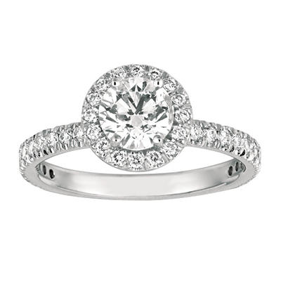 1.50 CT. TW. Round Cut Diamond Halo Ring in 14K White Gold