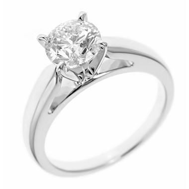 0.96 ct. Round-Cut Diamond Solitaire in 14k White Gold (I, I1)