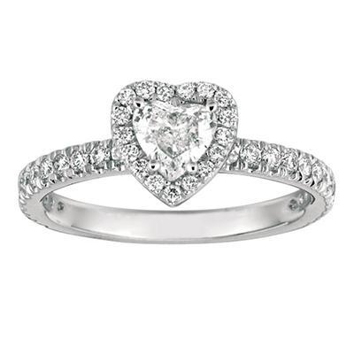 1.00 CT. TW. Heart-Shape Diamond Halo Ring 14K White Gold (I, I1)