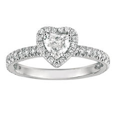 1.00 CT. TW. Heart-Shape Diamond Halo Ring 14K White Gold (I, I1)